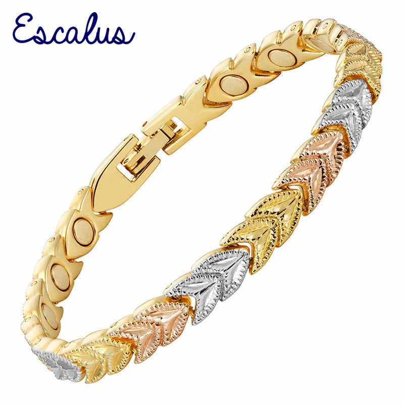 Escalus Women 3-Tone Beauty Gift Gold Magnetic Elegant Bracelet Ladies Jewelry Leave Bangle Fast Free Shipping Charm