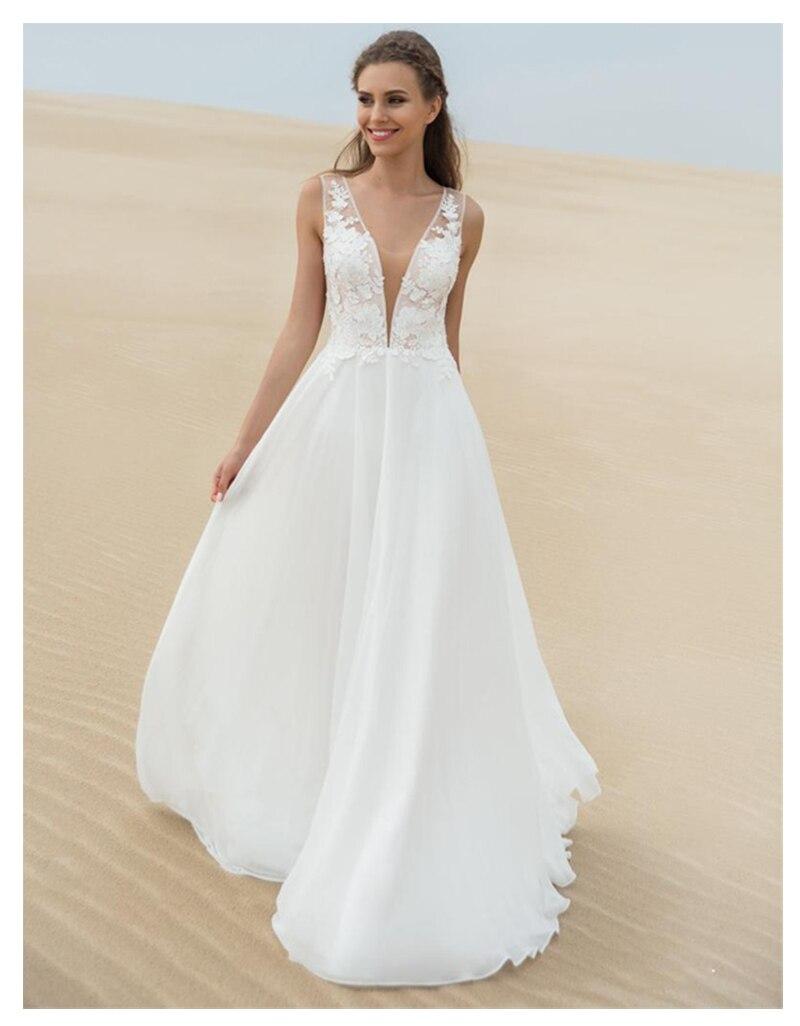 Verngo Chiffon Elegant Wedding Dress V-Neck Summer Beach Bride Dress Custom Made Floor Length Wedding Gowns Vestido Novia