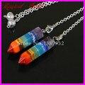 1Pc Rainbow 7 Chakra Layered Healing Dowsing Reiki Gems Druzy Agate Gems Pendant Charms Pendulum With Chain
