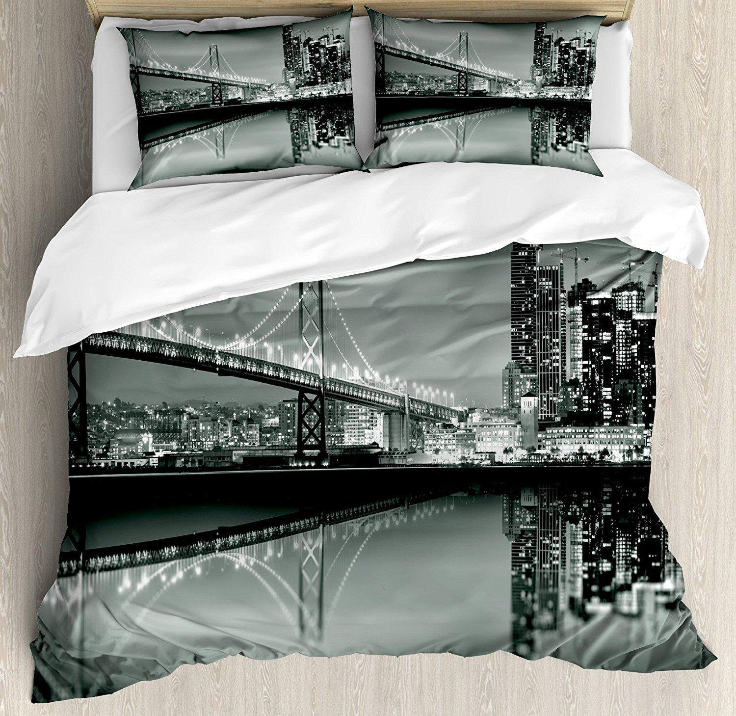 Duvet Cover Set , San Francisco Bay Bridge Metropolis Panorama Skyscrapers, 4 Piece Bedding Set Black Grey White