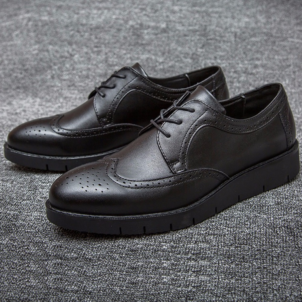 72db6aa22fc Fashion Quality Leather Black Brogues Oxfords Mens Thick Sole Platforms  Party Business Dress Shoes Flats British Style Hand Made-in Women s Flats  from Shoes ...
