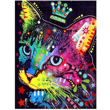 Handmade Bedroom Embroidery Home Decor Resin Diamond Painting Cat Pattern Colorful Rhinestones Cross Stitch Gift DIY Full Drill(China)