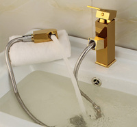 YAOPENG Pull Out Faucets Design for Washing Hair bathroom hot and cold water taps basin gold color copper telescopic mixer
