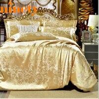 4pcs Jacquard Golden Silk Bedding Set Satin Bed Linen Sets Queen Size Quilt Bedclothes Bed Cover