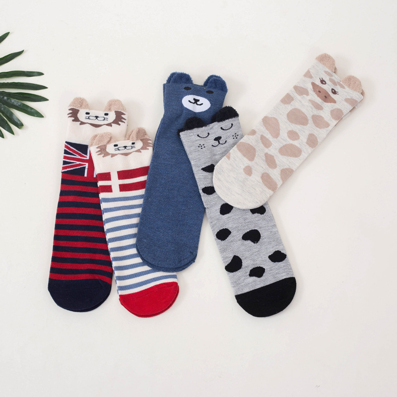 5 Pairs lot Cute 3D Women Socks Autumn Winter Cotton Girls Socks Bear Fashion Sock