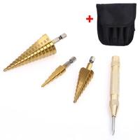 3pcs Hex Hss HSS Step Cone Titanium Drill Bits Hole Cutter Automatic Center Punch Set Cone