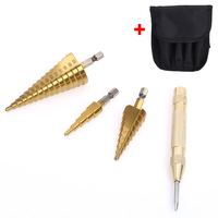 3pcs Hex Hss HSS Step Cone Titanium Drill Bits Hole Cutter Automatic Center Punch Set Cone
