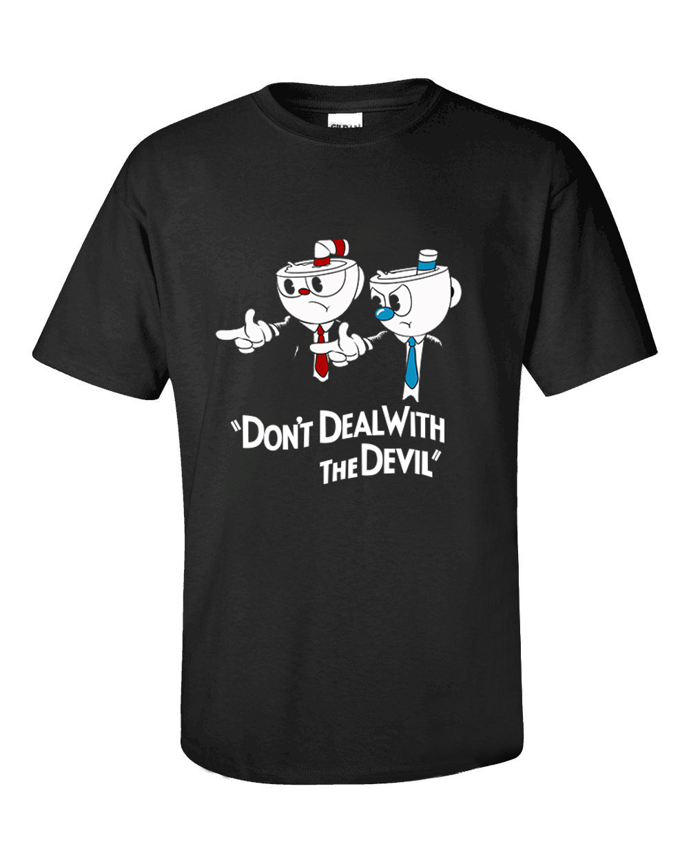 New Arrival Teacup Cup Head T Shirt Don't Deal With The Devil T-shirt Cotton O-neck Black Tee Shirt