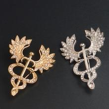 Brooch-Pin Medical-Jewelry Caduceus Nurse-Medicine Graduation Students Gift Gold
