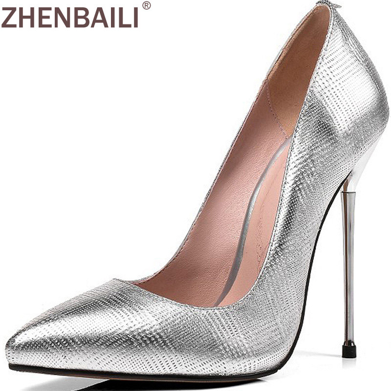 ZHENBAILI Slip-On Pointed Toe Shallow Work Party Pumps 12CM Super High Heel Shoes Fashion Genuine Leather Women Thin Heel Shoes craylorvans top quality 8 10 12cm women pumps new fashion leopard color pointed toe high heel wedding shoes ultra thin high heel