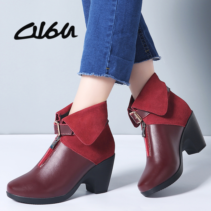 O16U 2019 Spring New Ankle Boots Ladies Footwear Real Leather-based Black Boots Style Women Strap Buckle Excessive Heels Boots Feminine 41 Ankle Boots, Low-cost Ankle Boots, O16U 2019 Spring...