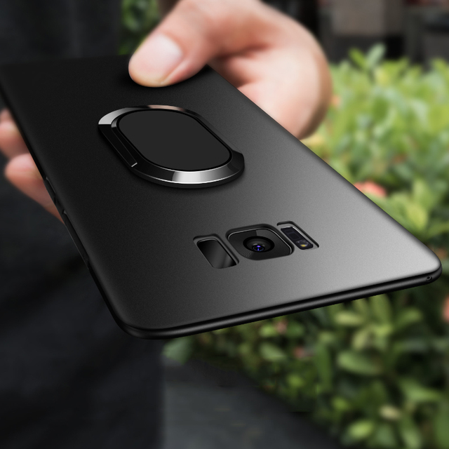 innovative design f244a 2ffb8 US $3.99 20% OFF|For Samsung Galaxy Note 9 S8 Plus Mobile Phone Case  Magnetic Car Holder Kickstand S9 Plus Back Cover Finger Ring Stand-in  Fitted ...