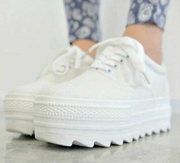 Женщины холст обувь зашнуровать Платформа Высота Увеличение женщины клинья женская обувь на высоких каблуках белые туфли 5A106