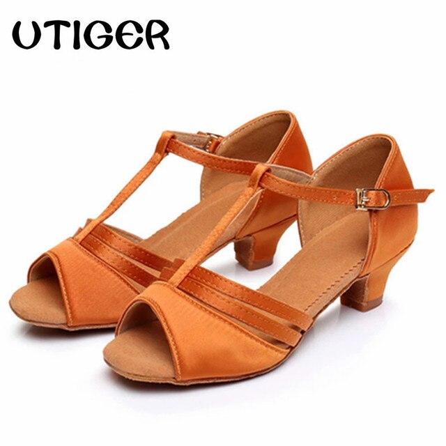 4f64ae966 Girls Children Satin Latin Dance Shoes Low Heel 4CM Ballroom Tango Shoes  Girls Women Salsa Party Dancing Shoes size 24-40
