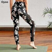 Oyoo Gorąca Sprzedaż Biały Dot Floral Wydrukowano Legginsy Jogi Boczne Panele Siatkowe Treningu Fitness Spodnie Czarny Athletic Taniec Rajstopy