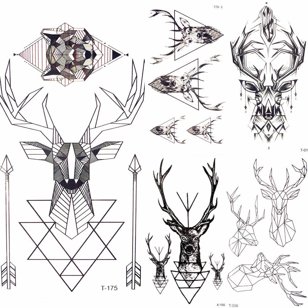 Detail Feedback Questions About Geometric Elk Wolf Temporary Tattoo