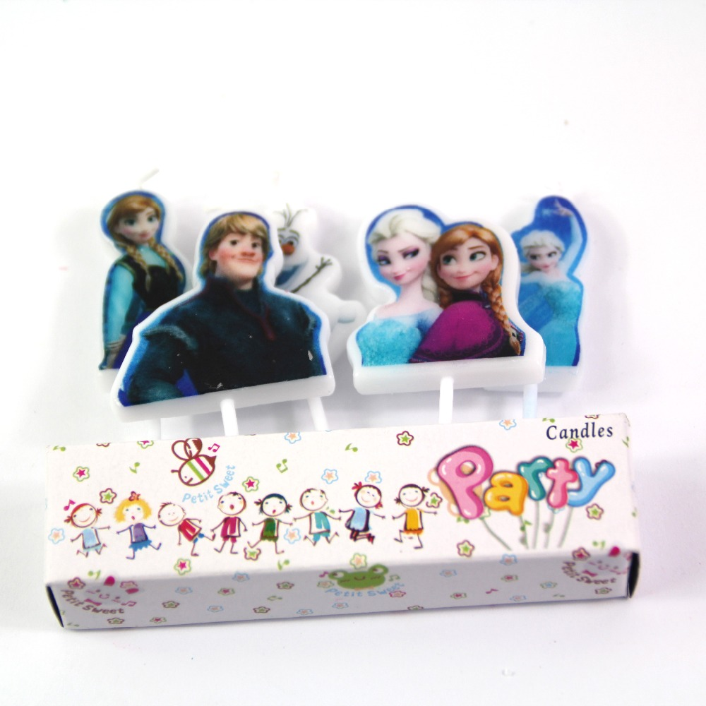 5pcs Baby Girls Frozen Elsa Cartoon Candle Happy Birthday Party Supplies Cake Decor for Topper Cupcake cake Decoration