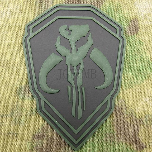 Green Boba Fett Mandalorian Bantha Skull Bounty Hunter 3d Pvc Patch
