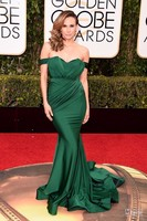 Fashion Emerald Green Celebrity Inspired Evening Dresses Mermaid Off The Shoulder Keltie Knight 73rd Golden Globe Awards Dresses