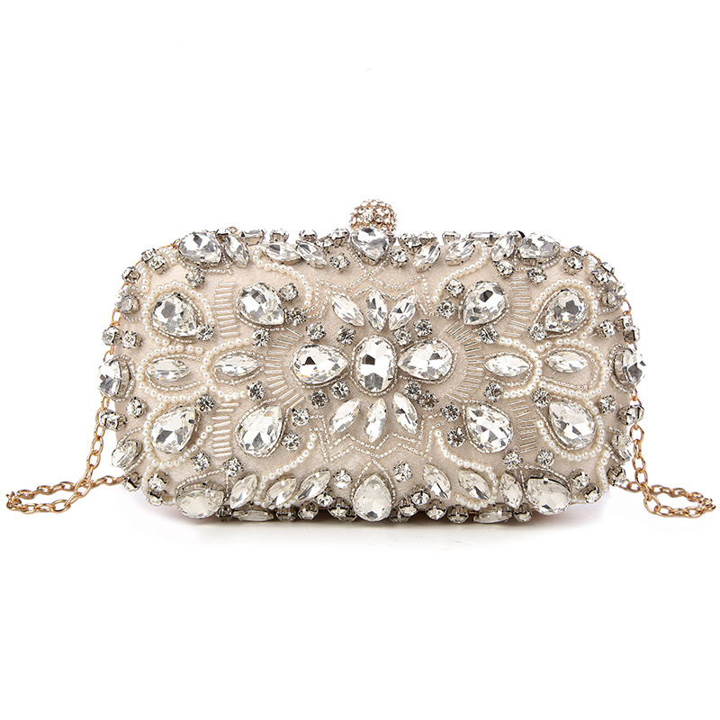 Purse Handbags Wallets Wedding-Bag Beaded-Day-Clutch Rhinestone Pearls Diamond Evening