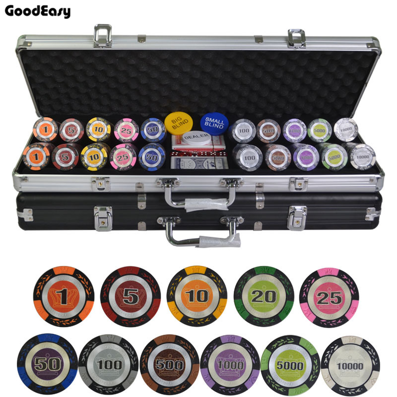 500pcs/set 14g Casino Poker Chips Deluxe Sets,Wheat Crown Poker Chips Colorful Clay Chips Texas Hold'em Chips Sets + Metal Box 600 1000pcs lot new casino texas hold em abs poker chips with star trim sticker baccarat poker chip sets with acrylic box