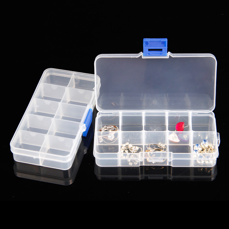 New Plastic 10 Slots Compartment Adjustable Jewelry Necklace Clear Storage Box Case Holder Craft Organizer Hot Sale Free Shiping
