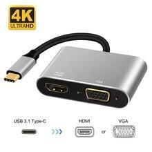 USB C Тип C в HDMI адаптер VGA 4 К 60 Гц 2 в 1 USB 3,1 Кабель преобразователя для ноутбук Apple Новый Macbook Google Chromebook Pixel