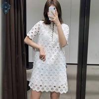 872c1e5b569016 Ameision Summer 2019 Women White Turn Down Collar Dress Korea Chic Hollow  Out Sexy Ladies Mini