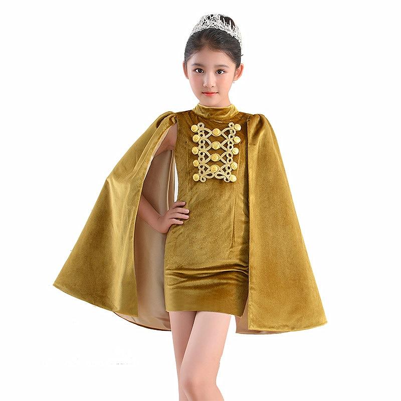 Enfants fille Costum dubaï Abaya Robe de soirée Festa dos nu Fiesta Velours Capes Robe de soirée élégante 2019 Abendkleider Robe Velours - 5