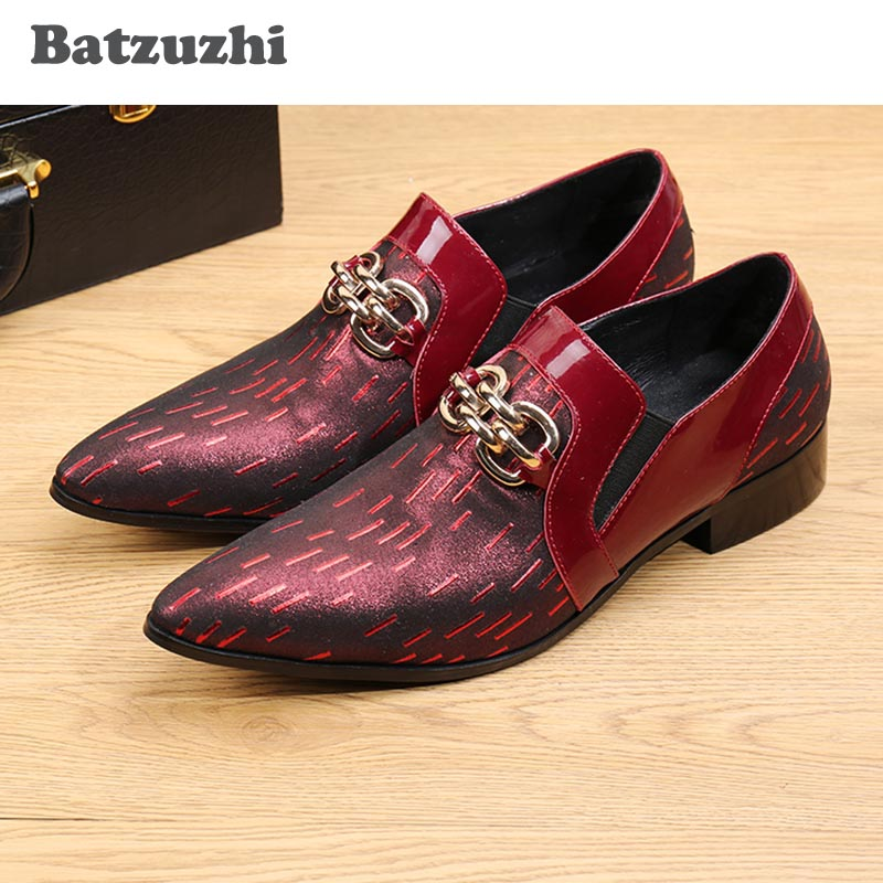 Batzuzhi luxury pointed toe men leather dress shoes for Red dress shoes for wedding