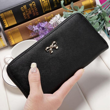 Women's wallet solid color bow clutch bag long wallet creative cute coin purse multi-function card bag leather handbag brown leather look solid color clutch bag