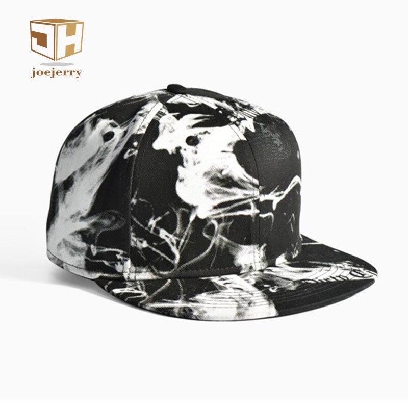 e391075680b5f joejerry Ink 3D Printed Baseball Cap Hip Hop Men Women Snapback Black White  Flat Cap Graffiti