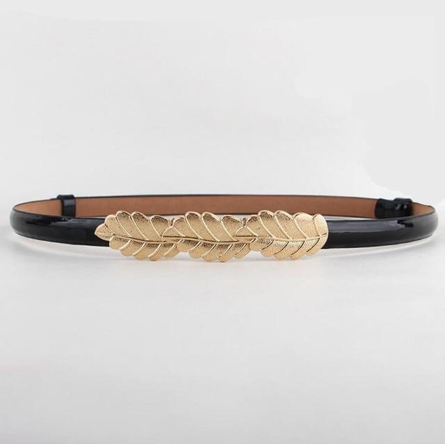 CHAUDE Feuille décoration ceinture Femmes réglable mince ceintures feuilles boucle  d or en cuir verni 84121c550e2