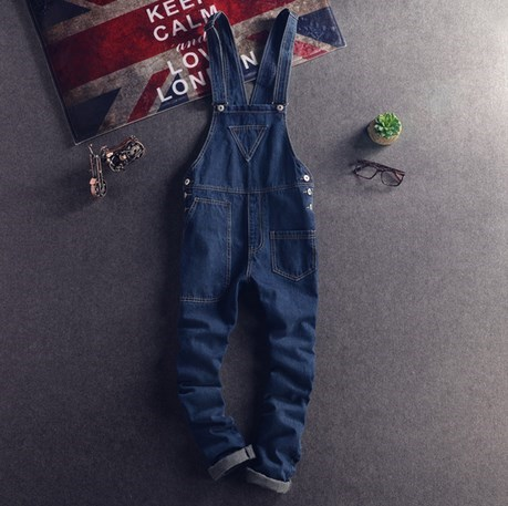 Japanese Style Mens Bib Overalls Spring Autumn Fashion Denim Overalls For Men Suspenders Jeans Ripped Male Denim Jumpsuit 021507 spring summer autumn winter women jeans overalls suspenders trousers spaghetti strap denim pants frock jumpsuit blue calca jeans