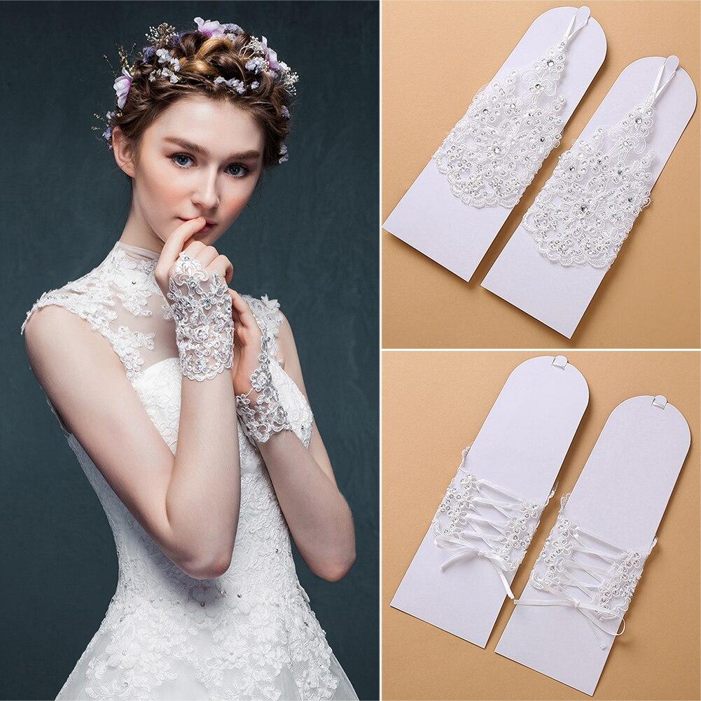 1 Pair Party Bridal Elegant Fingerless Gloves Wedding Accessories Arm Hollow Lace Evening Wrist Rhinestone Short