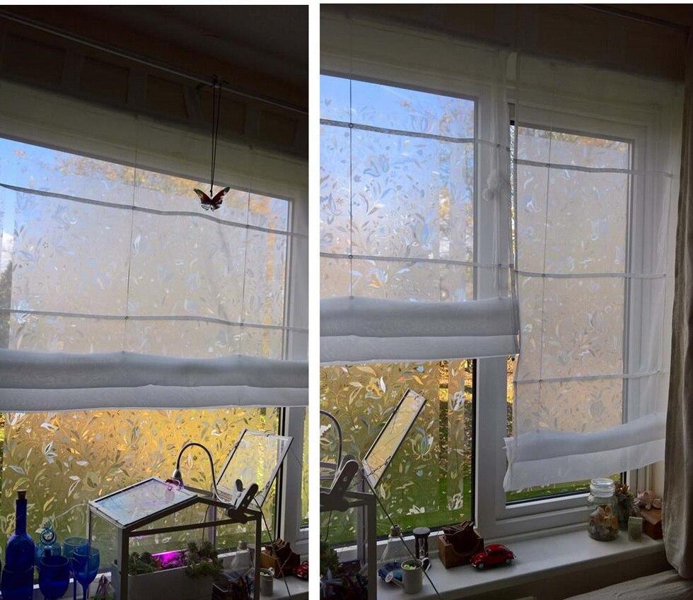 Junwell 8 Farben Tab Top Römischen Vorhang Blind Transparent Tüll Roller Up Europäischen Stil Wohnzimmer Balkon Voile 1 STÜCK