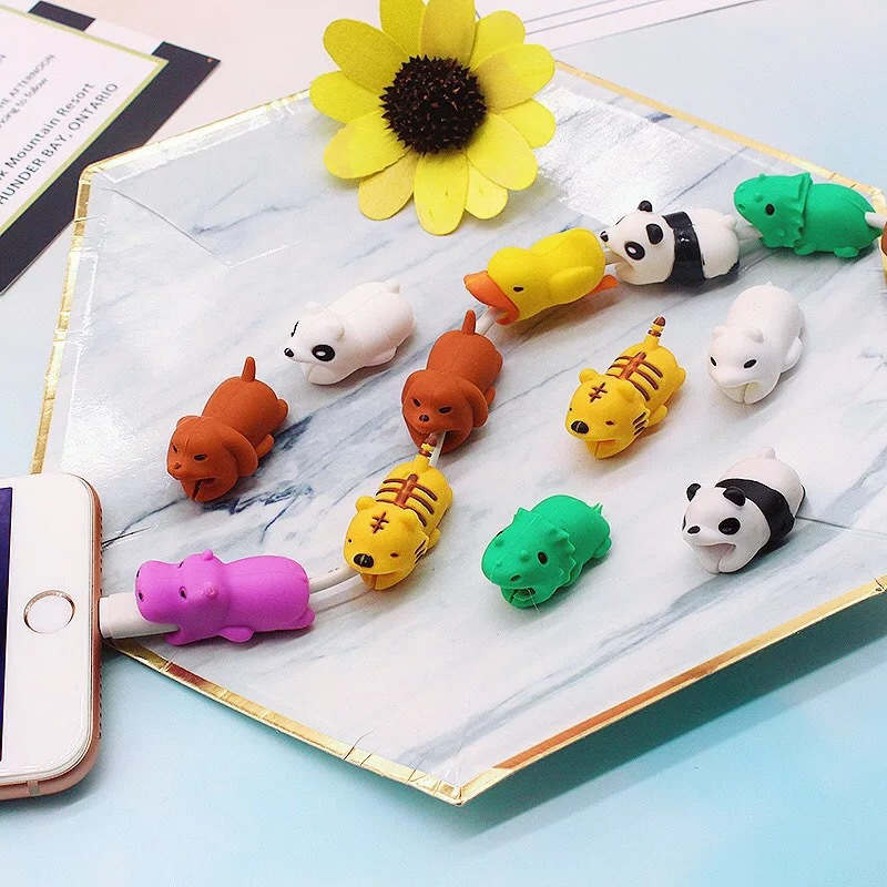 HTB1M0Qpcv1G3KVjSZFkq6yK4XXaC 1Pcs Cute Animal Cable Protector Cord Wire Cartoon Protection Mini Silicone Cover Charging Cable Winder For Iphone Charger Cable