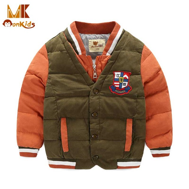 Monkids Boys Jacket Children Outerwear Coat&Jackets Children Outerwear Parkas Boys Winter Coat Down Children Clothing