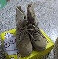 CCTWINS KIDS otoño genuino botas de cuero para niños media pantorrilla botas de los bebés de la marca martin botas niñas zapatos de moda negro