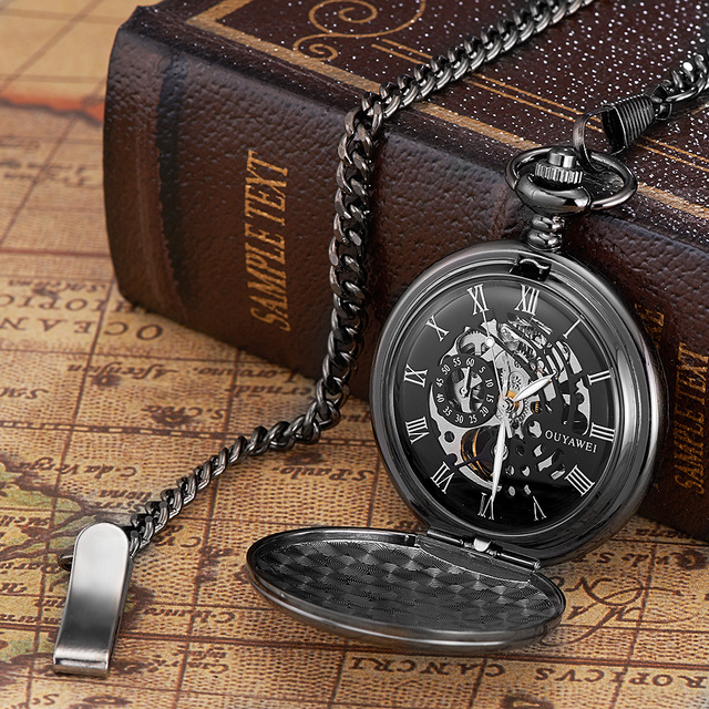 NEW Arrival OUYAWEI Brand Mechanical Hand Wind Watch Men Elegant Fashion Pocket