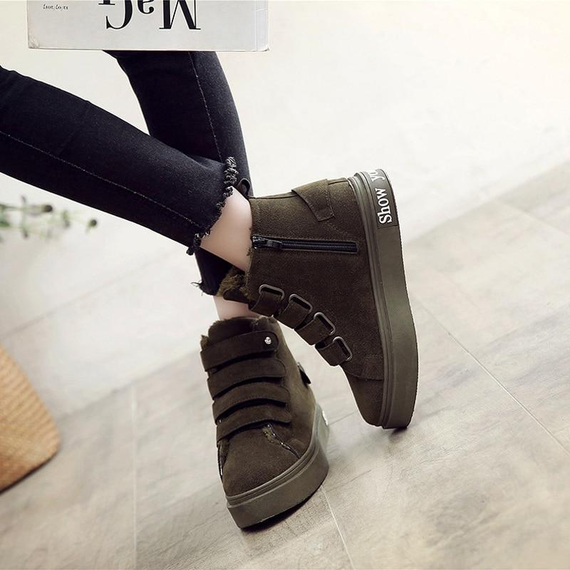 Occasionnels Et Appartements Nouvelle Chaudes Femmes Troupeau Noir Peluche Sneakers forme En Crochet army Cuir Plate Mode Boucle Des D'hiver Green Chaussures p767Yq5w