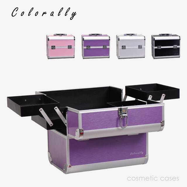 4 Colors Aluminum Fashion Makeup Box Beauty Box With Inner Tray Makeup  Train Case Large