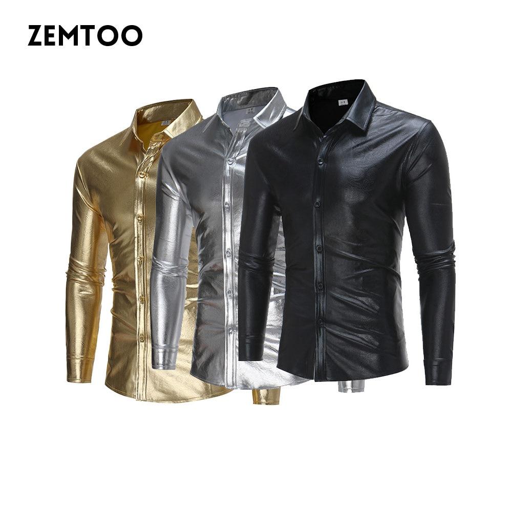 2016 nouveaux hommes discothèque chemises élastiques mode chemises brillantes Homme à manches longues Chemise Homme hommes rue Swag vêtements ZE0426