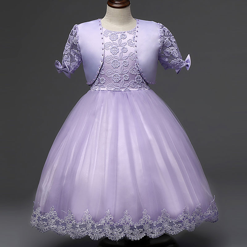 European Royal Style New Design Girl Princess Dress Lace Flower with Fashion Cape Spring Dresses for Girls Gown Wedding Party long flower girl cape winter princess junior bridesmaid cape wedding cloak with fur trim with hand warmer for communion dress