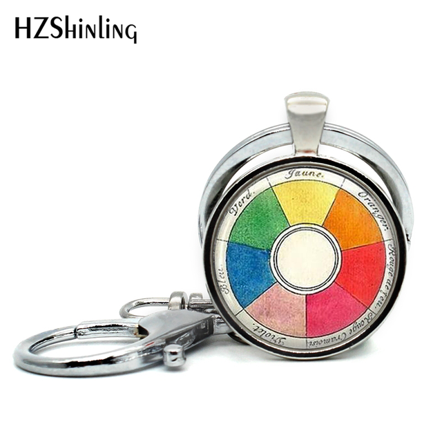 2017 New Arrival Artists Keychain Vintage Color Wheel Key Ring Round
