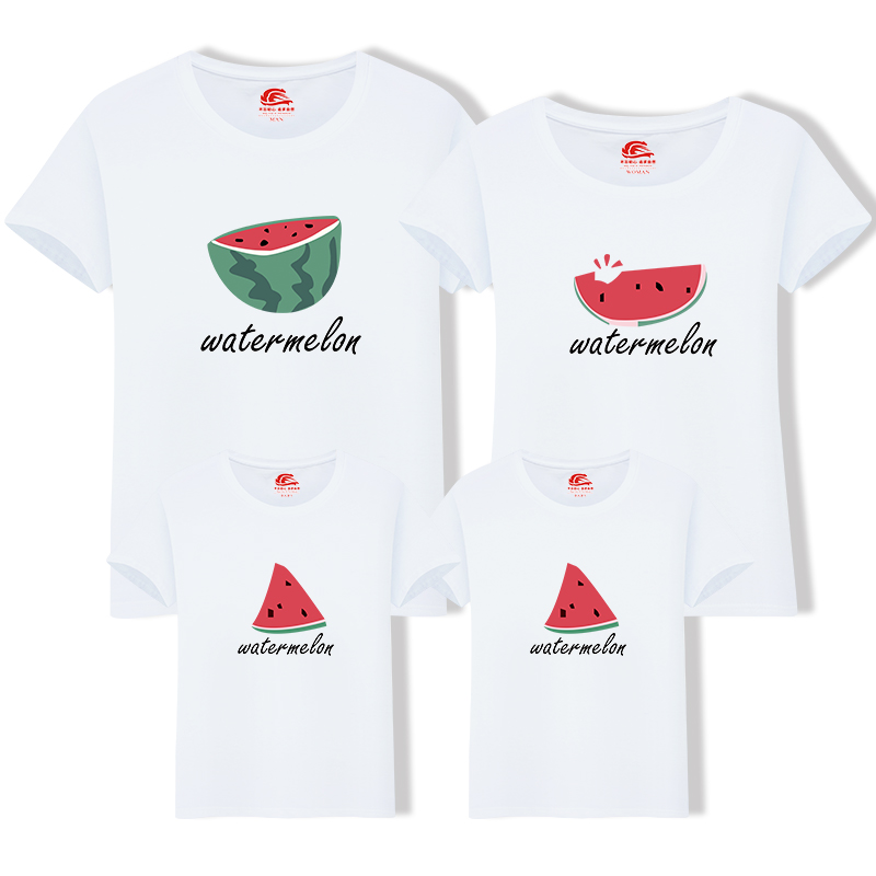 Family Look Cotton Mother Father Son Daughter Clothing Family Matching Outfit Summer Short Sleeve T Shirt Top Clothes Watermelon