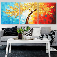 3 Pieces Panel Wall Art Palette Knife Hand Painted Flower Oil painting On Canvas Wall Pictures Painting For Living Room blossom