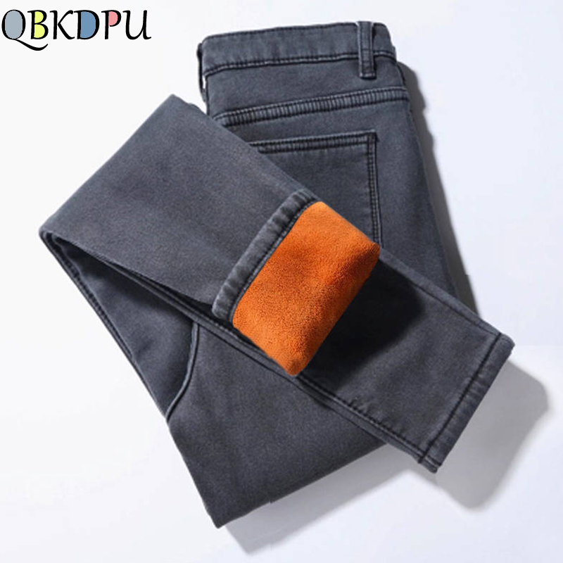 Vintage Winter Skinny Pencil Jeans Plus Velvet Thicker Women Jeans Warm High Waist Trousers Mom's Plus Size Stretch Denim Pants