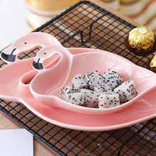2 шт. декоративный, с рисунком Фламинго Розовый 3D керамическая тарелка закуски сушеные тарелки для фруктов фруктовая миска для десерта столовая посуда для дома