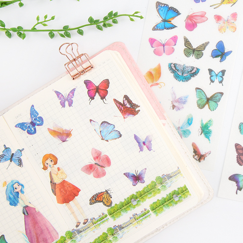 6 pcs/pack Butterfly Colorful Stickers Set Decorative Stationery Stickers Scrapbooking DIY Diary Album Stick Label spring and fall leaves shape pvc environmental stickers decorative diy scrapbooking keyboard personal diary stationery stickers